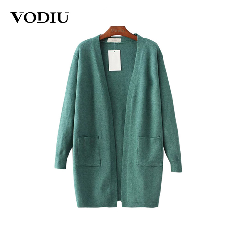 Autumn Winter Tops Female Knitted Cardigan 2017 New Casual Open Pockets Sweater For Women Solid Thin Colors Outwear Coat