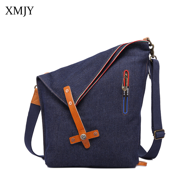 XMJY Denim Canvas Bag Women Ladies Fashion Casual Shoulder Crossbody Bags With Silt Pockets Multifunctional Women Messenger Bag women handbag shoulder bag messenger bag casual colorful canvas crossbody bags for girl student waterproof nylon laptop tote