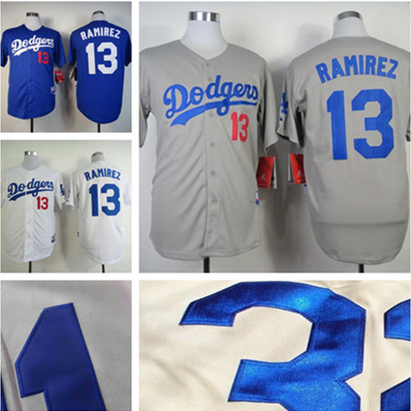 2015 new Los Angeles Dodgers jerseys shirt Embroidery  13 Hanley Ramirez  Jersey authentic Dodgers jersey custom white gray blue 7b1b8c02a0b