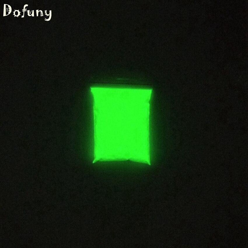⑧50 g/lote amarillo-verde resplandor luminoso polvo fluorescente ...
