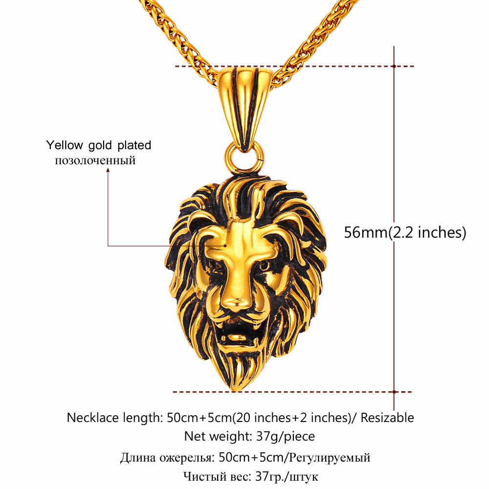 U7 czarny lew Charms naszyjnik Rock Punk Style mężczyźni/kobiety Retro biżuteria złoty kolor naszyjnik łańcuch ze stali nierdzewnej i wisiorek P807