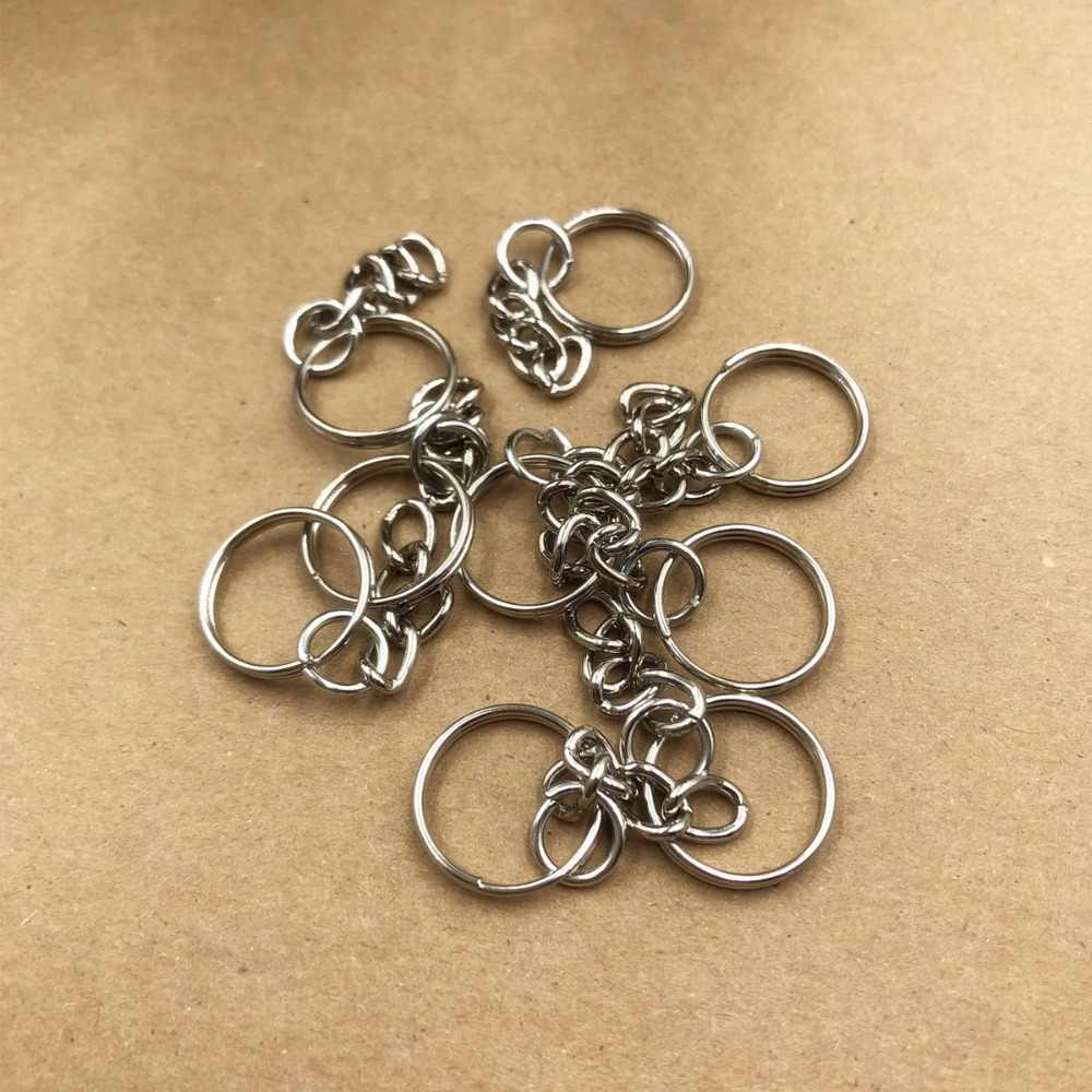 16mm Silver Tone Key Chains & Key Rings Keychain DIY Jewelry Accessories 10pcs
