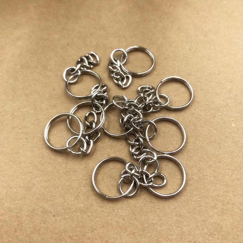 16mm Bạc Tone Key Chains & Key Rings Keychain DIY Đồ Trang Sức Phụ Kiện 10 pcs