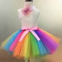 Радужные юбки-пачки, фатиновые юбки для маленьких девочек балетная юбка-американка для танцев комплект из юбки-пачки с бантом в горошек и повязки на голову, Детские праздничные юбки