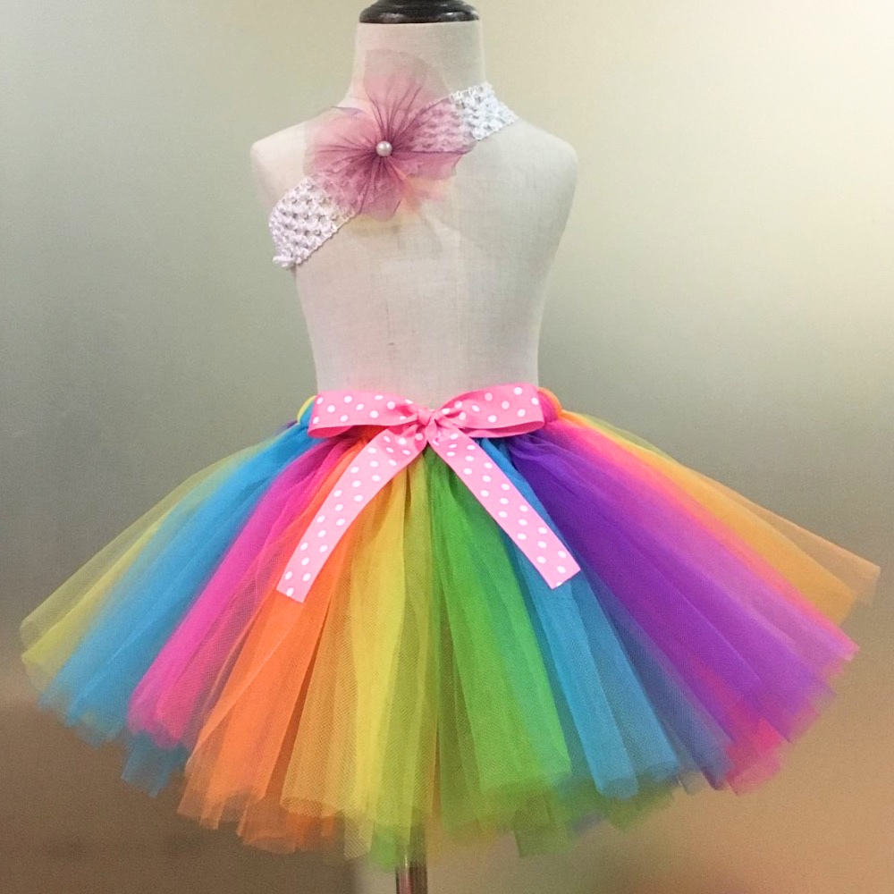 Rainbow Tutu Skirts Baby Girls Tulle Skirts Ballet Dance Pettiskirt Tutus with Polka Dots Bow and Headband Set Kids Party Skirts