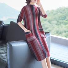 Half turtlenekc elastic knit striped wool sweater dress 2018 new women autumn winter long sleeve