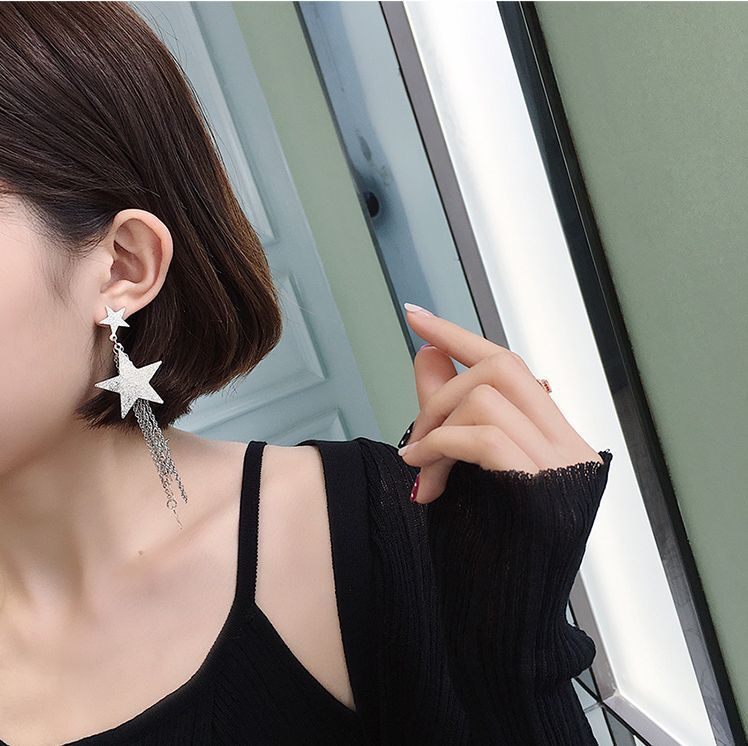 Boho Long Star Dangle Earrings Fashion Amazing Tassel Punk Polish Drop Earrings For Women Jewelry in Drop Earrings from Jewelry Accessories