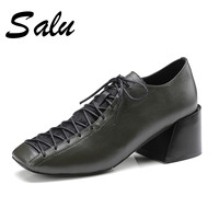 Salu 2019 Spring New Genuine leather Black Pumps Women Patent Office Lady Fashion Work Shoes High Heels Footwear big size 11