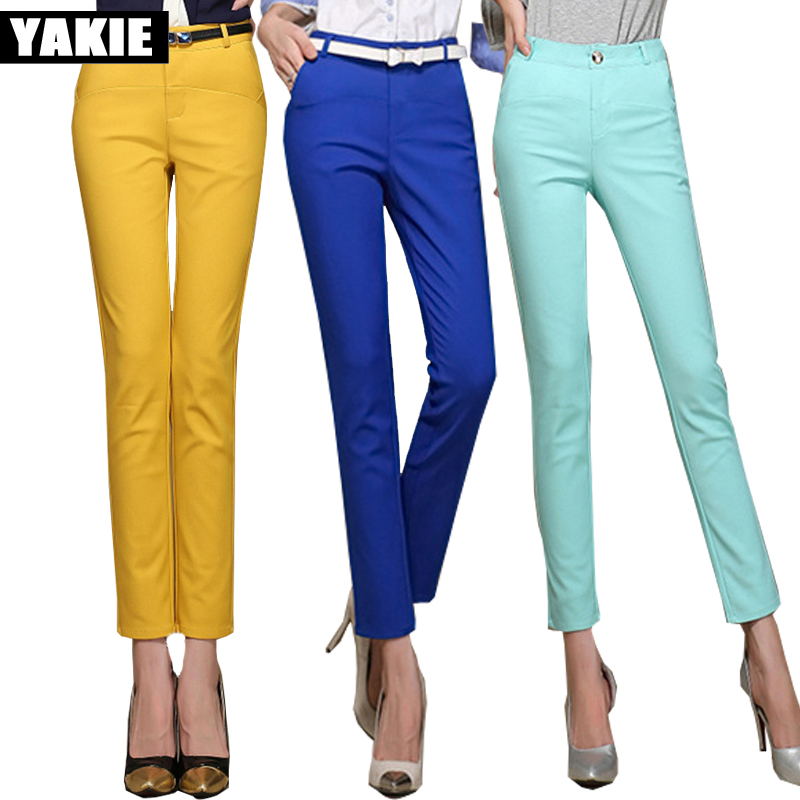 Candy colors High waist   pants     capri   women pencil   pants   solid skinny slim OL office formal patchwork casual   pants   pantalon femme