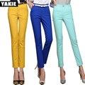 Candy colors High waist pants capri women pencil pants solid skinny slim OL office formal patchwork casual pants pantalon femme