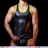 Cool 100% Latex Rubber Men Black and Yellow Sling Vest and Triangle Shorts Siamese Suit Size XXS XXL