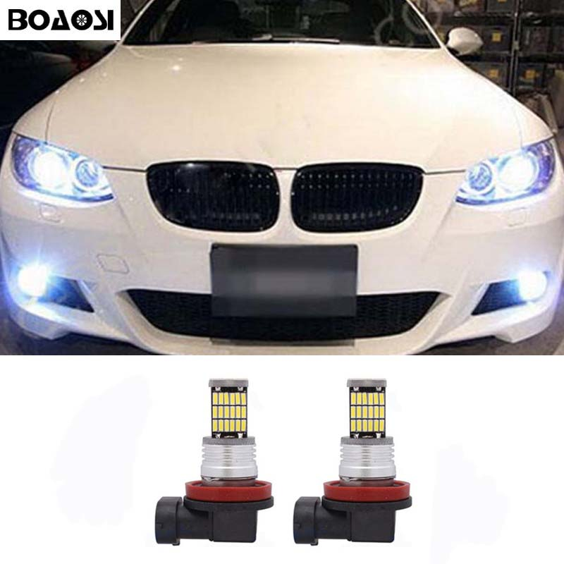 BOAOSI 2x H11 LED Samsung 4014SMD Projector Fog Light DRL 10W For BMW 3/5-Series 328i 335i E39 525 530 535 E46 E61 E90 E92 E93 boaosi 2x h8 h11 led canbus bulbs reflector mirror design for fog lights for bmw e39 325 328 m mini sport