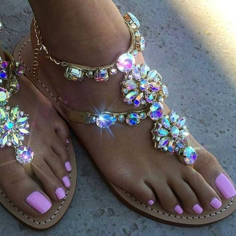 1406b4bba548 Slingback Rhinestones Thong Choo Leather Gladiator Flat Flat Women Crystal  Sandals Heels Eunice Flower Chains Sandals Sandals F7pTT