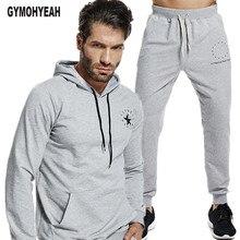GYMOHYEAH 2018 ฤดูใบไม้ร่วงผู้ชายชุดลำลองชายเสื้อแขนยาวกางเกงสบายๆ Streetwear ชุดออกกำลังกายเสื้อผ้า