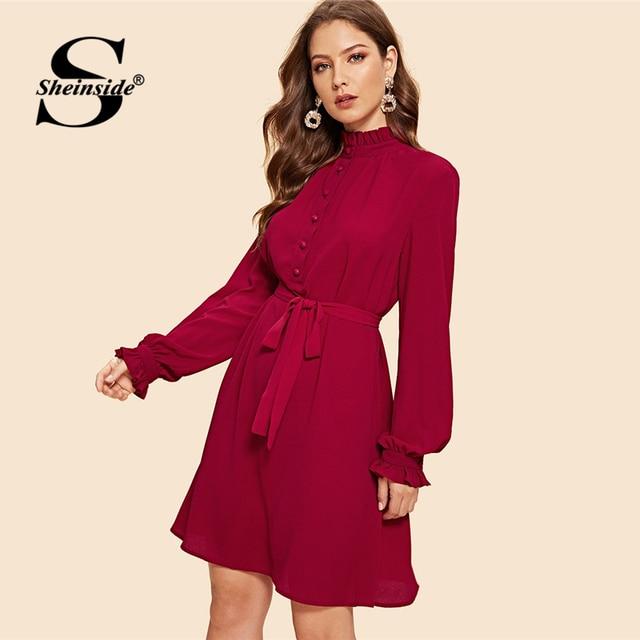 ef67bd00e4 Sheinside Button Front Frill Neckline Belted Christmas Dress Women Flounce  Long Sleeve Ladies Dresses Autumn Vintage Midi Dress