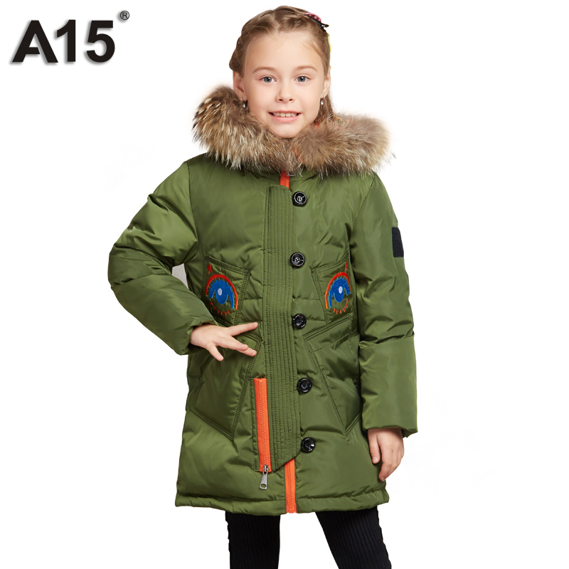 A15 Winter Jacket Girl 2017 High Quality Thick Down Jacket for Kids Warm Fur Hooded Children Outerwear Coat Clothes 8 10 12 Year a15 girls down jacket 2017 new cold winter thick fur hooded long parkas big girl down jakcet coat teens outerwear overcoat 12 14