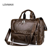 LOVMAXI 100% Geanuine leather men business bag briefcase for 17″ laptop bag messenger bags for male Vintage  7289