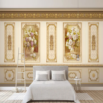 Custom 3D Photo Wallpaper Painting European Style Pastoral Flower Gold Home Decoration Siding Mural Papel De Parede