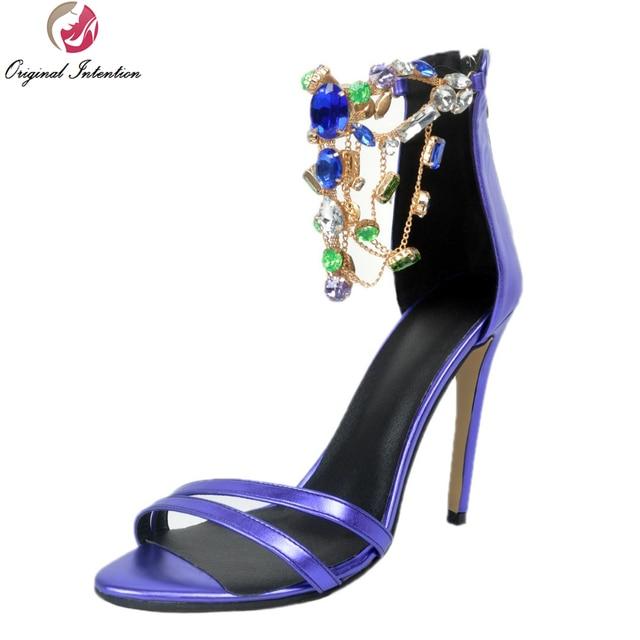 ca3c4b0f03 Intenção Original Mulheres Lindas Sandálias Agradável Strass Peep Toe  Saltos Finos Sandálias Da Moda Roxo Sapatos