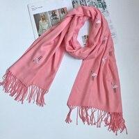 2016 Women Cashmere Bandana Pure Color W Tassels Scarf Flamingos Pattern Neck Scarves Hot