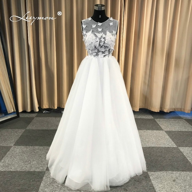 Butterfly Wedding Gown: Leeymon Simple Tulle Beach Wedding Dress Butterfly Lace