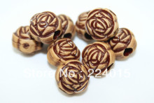 Freeshipping!150pcs Acrylic Big Hole Rose Flower Imitation Natural Wood Print Classical Beads For Necklace / Bracelet DIY,9*10mm