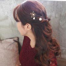 3Pcs/Set Korean Minimalist Women Girls Hair Clips Imitation Pearl Hollow Out Flower Petals Hairpins Party Metallic Wavy Barrette faux crystal inlaid hollow out flower barrette