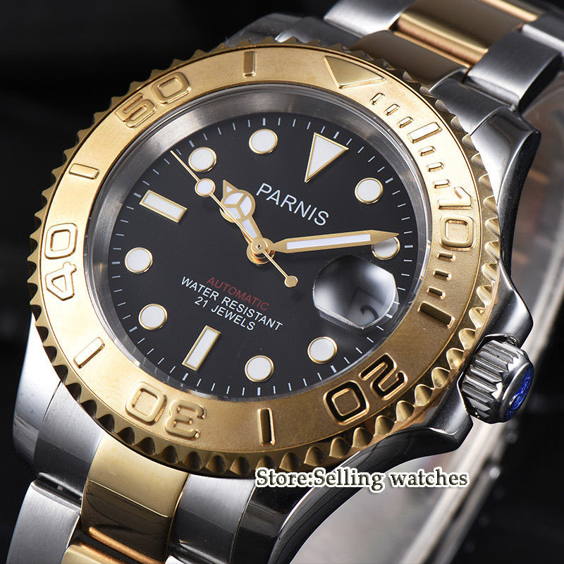 41mm parnis Black Dial Sapphire Crystal ceramic bezel Luminous Date 21 jewels Miyota Automatic Mechanical mens Watch41mm parnis Black Dial Sapphire Crystal ceramic bezel Luminous Date 21 jewels Miyota Automatic Mechanical mens Watch
