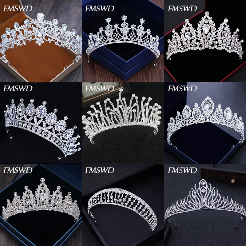 Diverse Silver Gold Color Crystal Crowns Bride tiara Fashion Queen For Wedding Crown Headpiece Wedding Hair Jewelry Accessories(China)