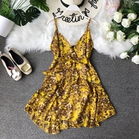 2019 New Sexy Waistband Butterfly Ribbon Women's Summer Low V collared Print Casual Dress Vestidos F047