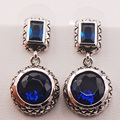 Blue Simulated Sapphire 925 Sterling Silver Earrings TE471