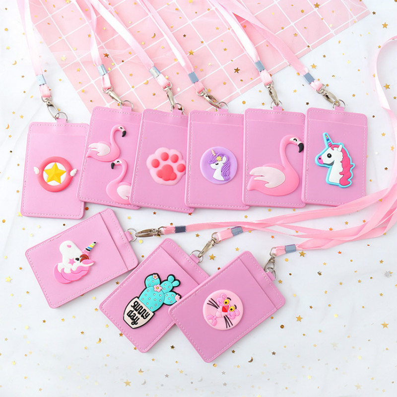 Id-Card-Holder Lanyard Bank Hanging-Rope Unicorn Credit Women Student Cute Lovely