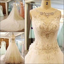 QUEEN BRIDAL A line O neck Lace Sequins Wedding Dress