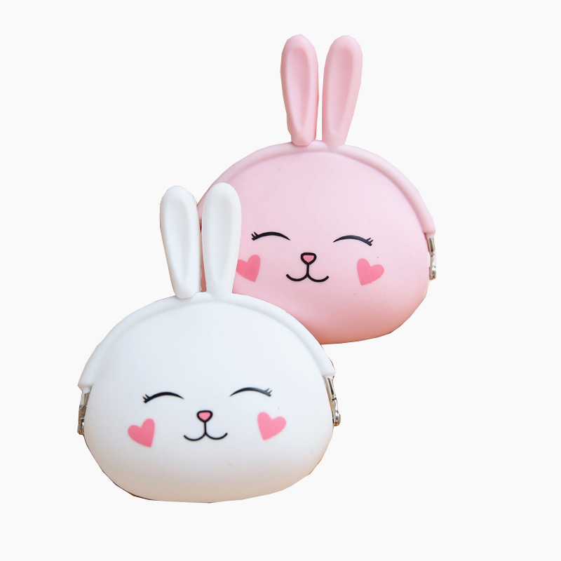 1PCS 12.5 * 10 cm Pink and white express little rabbit Emoji Silicone Jelly Coin Purse Money Bag Holder Children's wallet