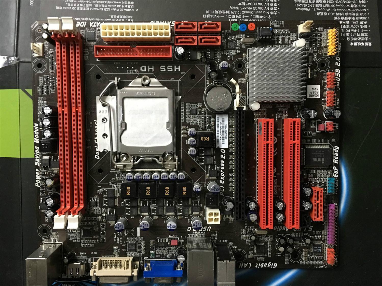 Utilisé, d'origine carte mère pour Biostar H55 HD LGA 1156 DDR3 pour i3 i5 i7 cpu USB2.0 H55 Bureau carte mère, 100% testé bon