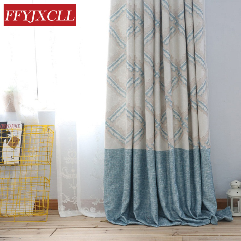 American Style Custom Made Blue Faux Linen Fabric Printed Blackout Curtains for Living Room for Bedroom Window Curtains Design
