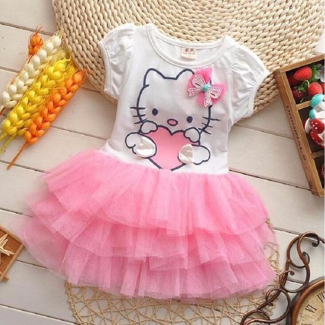 83430db4594c4 Infant Baby Girls Cute Hello Kitty Cat Short Sleeve Dress With Bow Kids  Cotton Dresses Children Summer Clothing Vestidos-in Dresses from Mother &  Kids ...