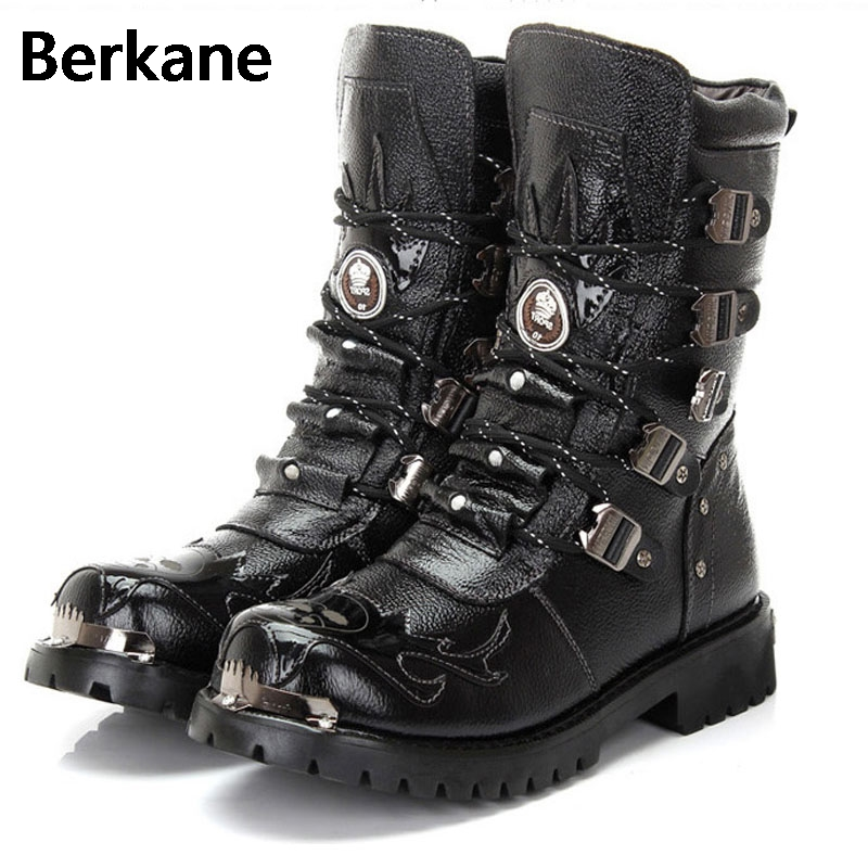 Army Boots Men Military Boots 2019 Leather Winter Black Cowboy Snow Metal Gothic Punk Boots Male Shoes Motorcycle Botas Hombre