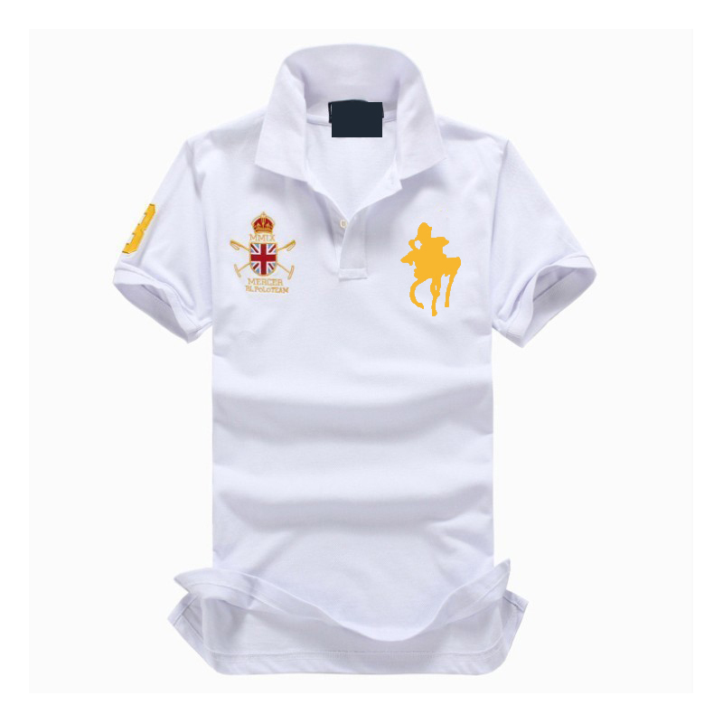 2019 New High Quality Tops&Tees Men's   Polo   shirts Business men brands white   Polo   Shirts 3D big horse embroidery mens   polo   shirt