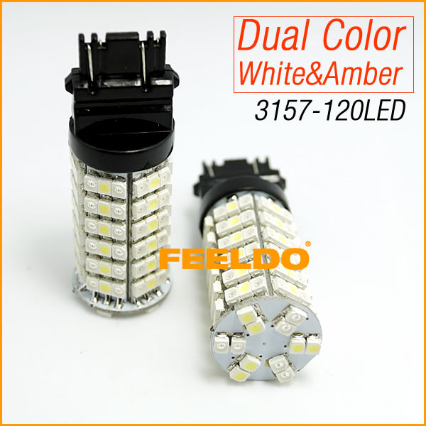 2Pcs T25/3157/3057/3457/4157 120SMD-1210 White/Amber Yellow Dual Color LED Turn Signal Light Bulbs #4006 2pcs 3157 switchback bulbs turn signal light 3056 3156 3057 led car bulbs 42smd dual color amber white pack of 2