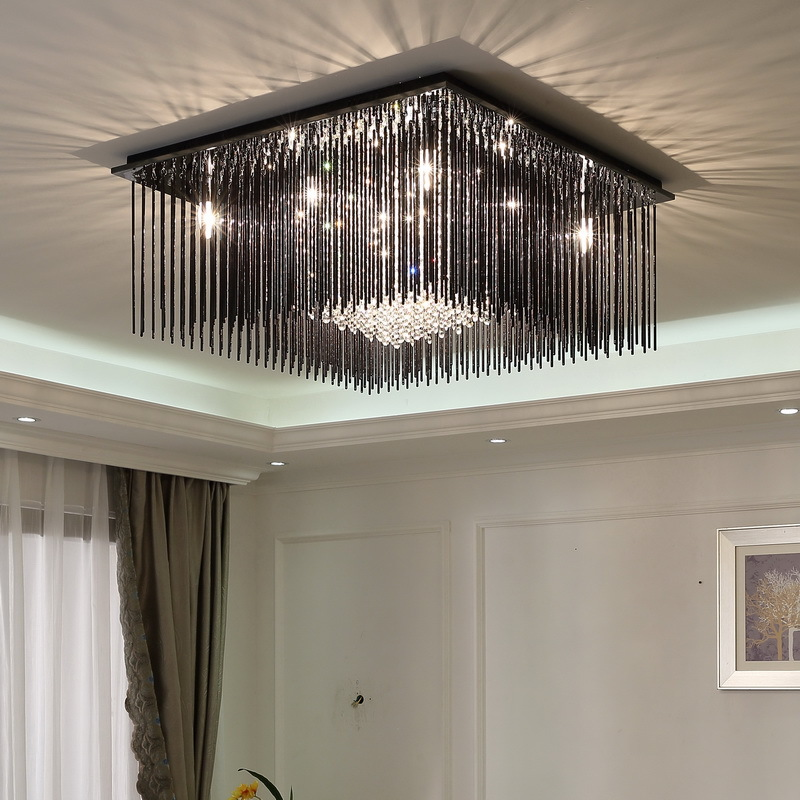Modern Living Room LED Ceiling Lights Rectangle Crystal Concise Attract Ceiling lamp Restaurant Bedroom Lamps wl3281654 j best price modern fashion crystal lamp rectangle restaurant ceiling lamp sitting room partition lamps led ceiling light