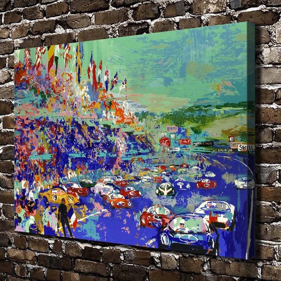 A1874 LeRoy Neiman Abstrakte Fahren Spiel Auto Landschaft Hd Leinwand Druck Dekoration Wohnzimmer