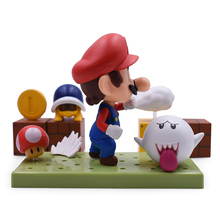 4'' 8cm Set Super Mario Bros with Joints Mushroom Toad Coins Game PVC Action Figures Sets Toys for Children Figures Collection super mario bros action figures set 6pcs
