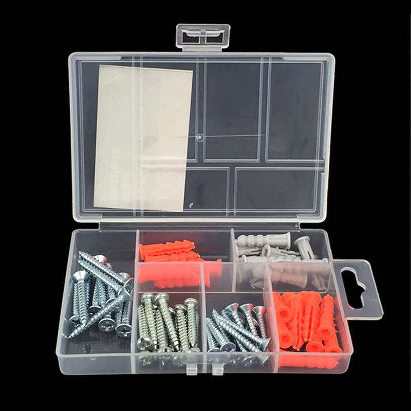 62Pcs/set Self Tapping Wall Anchor Screw Expansion Screw Bolt Expansion Pipe Hardware Wall Plugs Drywall Screw Simple Tool Parts 20pcs m3 m12 screw thread metric plugs taps tap wrench die wrench set