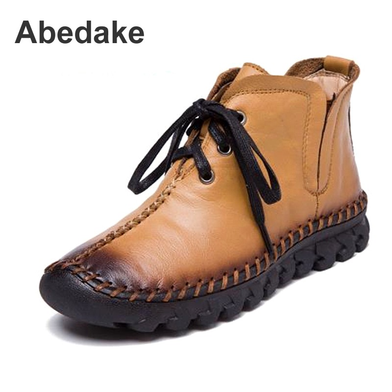 Abedake brand women boots autumn&winter handmade genuine leather women ankle boots winter lace-up winter warm boots shoes lozoga genuine leather mens fur winter boots high quality male work & safety boots lace up handmade brand boots ankle keep warm