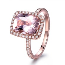 MYRAY 7x9mm Natural Pink Morganite Gemstone Diamond Engagement Ring 14k Rose Gold Wedding Anniversary Rings Women Jewelry Gift