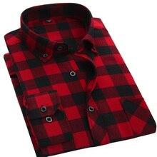2016 männer Rot Kariertes Hemd Mode Marke Regular Fit Casual hemd Neue Verdicken Baumwolle Langarm Männlichen Flanell Sozialen Kleid hemd