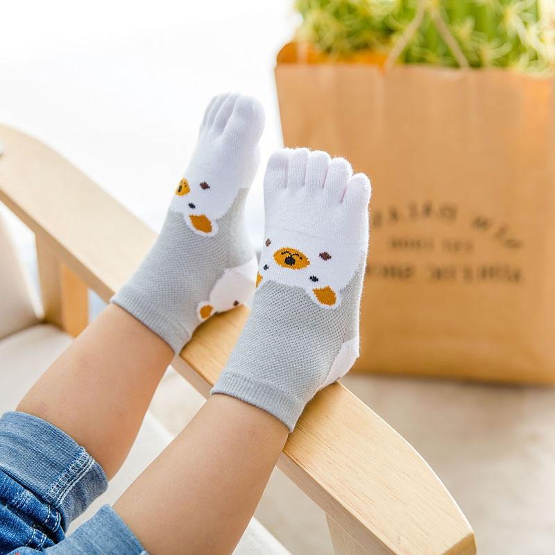 New Design Cute Cartoon Bear Five Toes Socks Kids Socks Girl Boy Children Hosiery Five Fingers Socks Mesh Breathable Foot Socks 5
