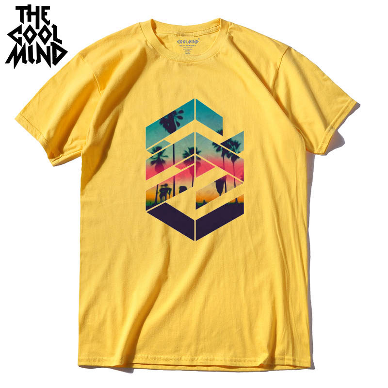 COOLMIND QI0311A cool loose o-neck summer printed casual men T shirt short sleeve 100% cotton cotton comfortable fabric tshirts