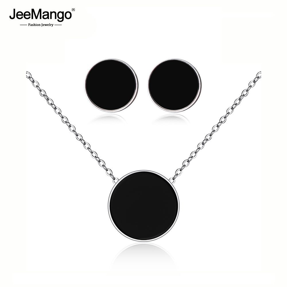 JeeMango Black Acrylic Stainless Steel Choker Necklaces Charm Bracelets Stud Earrings Sets Wedding Jewelry For Women JSE001P